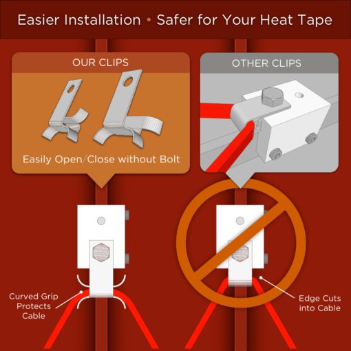 standing seam roof heat tape clips